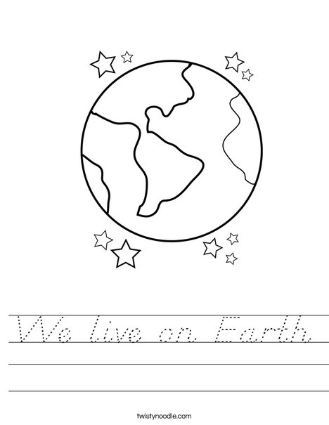Earth with Stars Worksheet