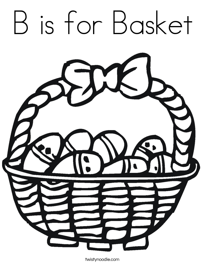 B is for Basket Coloring Page - Twisty Noodle