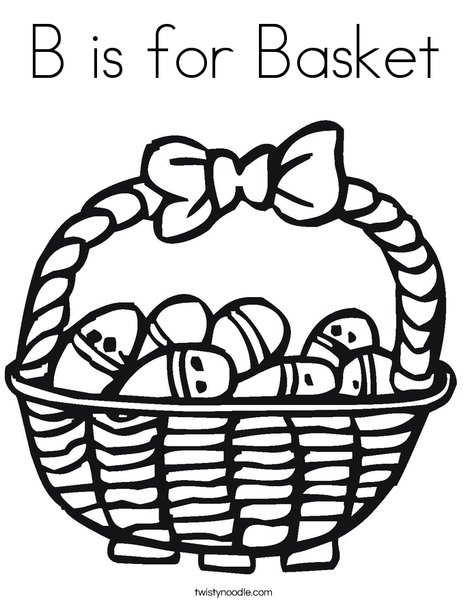 Easter Basket with Decorated Eggs Coloring Page
