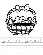 B is for Basket Handwriting Sheet
