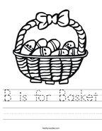 B is for Basket Handwriting Sheet