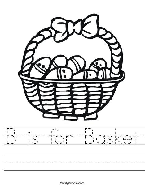 Easter Basket with Decorated Eggs Worksheet