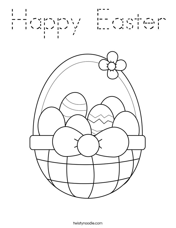 Happy Easter Coloring Page Tracing