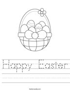 Happy Easter Handwriting Sheet