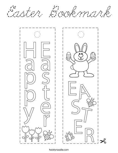 Easter Bookmark Coloring Page