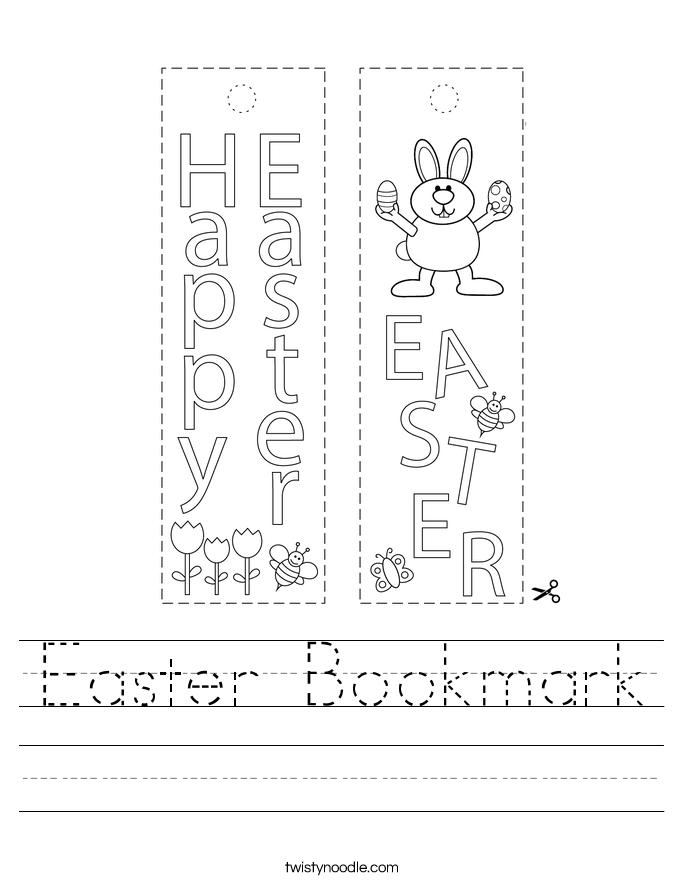 Easter Bookmark Worksheet