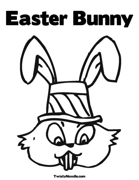 easter bunny coloring book. Easter Bunny with Hat Coloring