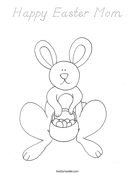Happy Easter Mom Coloring Page