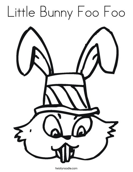 Easter Bunny with Hat Coloring Page