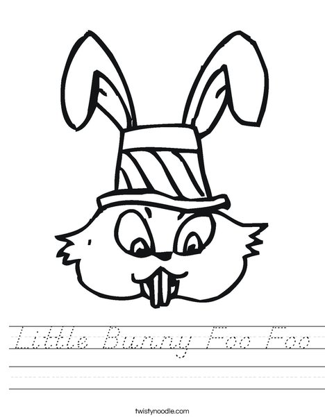Easter Bunny with Hat Worksheet