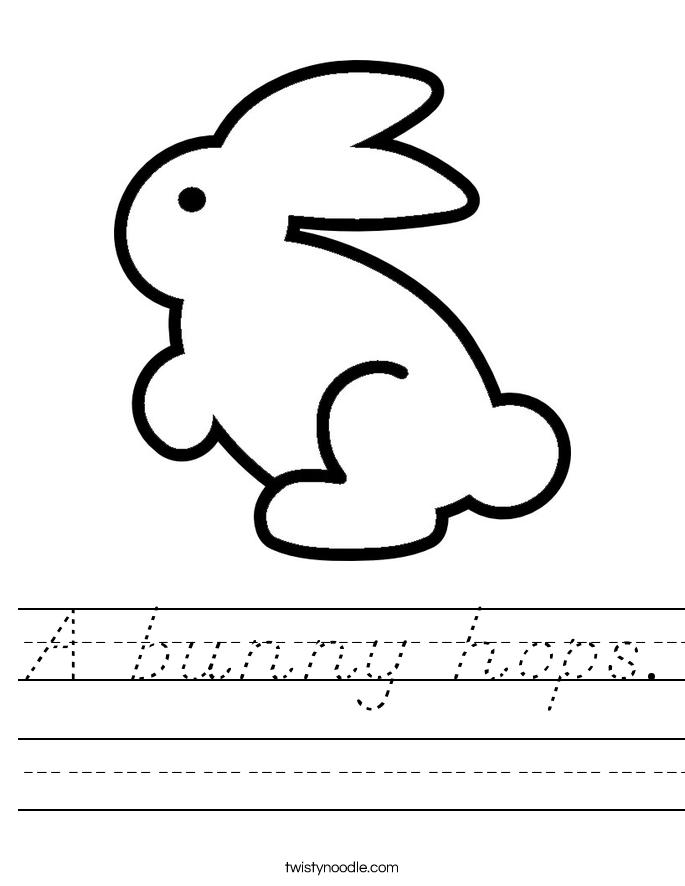 A bunny hops. Worksheet
