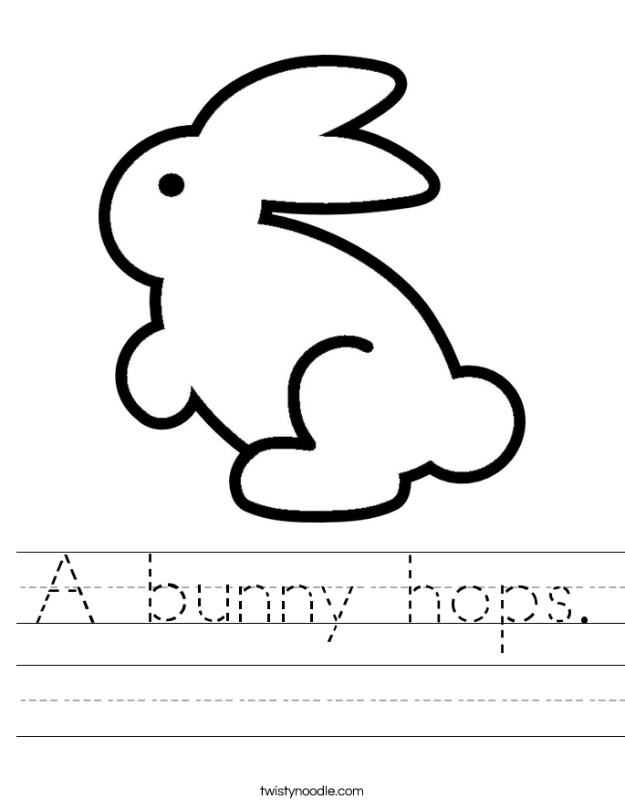 A bunny hops. Worksheet