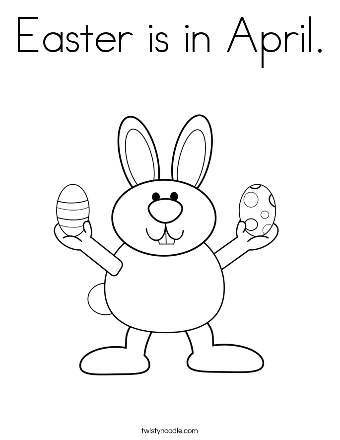 Easter is in April. Coloring Page