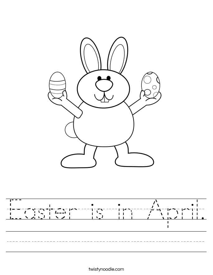 Easter is in April. Worksheet