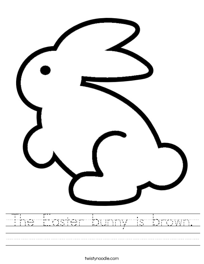The Easter bunny is brown. Worksheet
