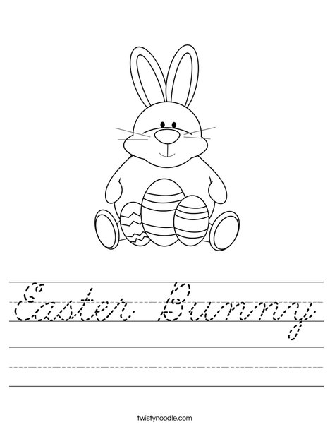 Easter Bunny Worksheet - Cursive - Twisty Noodle