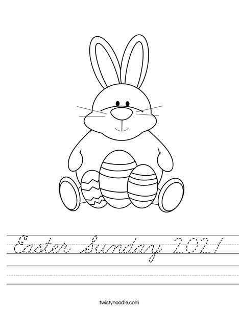 Easter Bunny Sitting with Eggs Worksheet