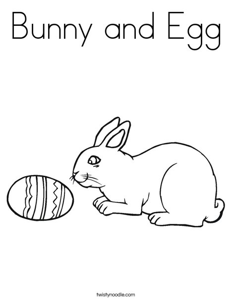 Bunny and Egg Coloring Page