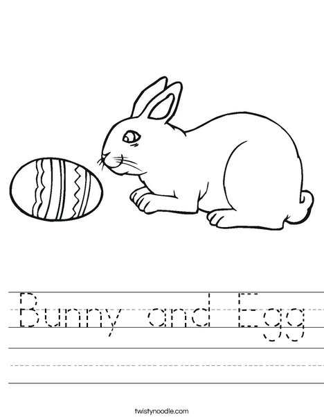 Bunny and Egg Worksheet