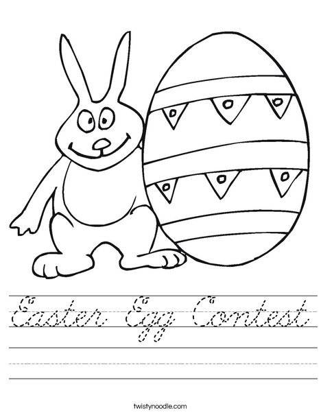 Easter Bunny and Egg Worksheet