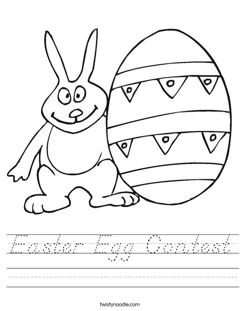 Easter Bunny and Egg Worksheet