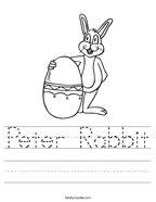 Peter Rabbit Handwriting Sheet
