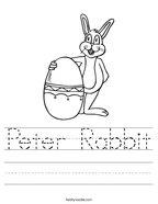 Peter Rabbit Handwriting Sheet