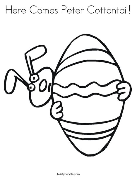 Easter Bunny Peeking Around an Egg Coloring Page