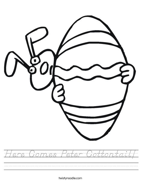Easter Bunny Peeking Around an Egg Worksheet