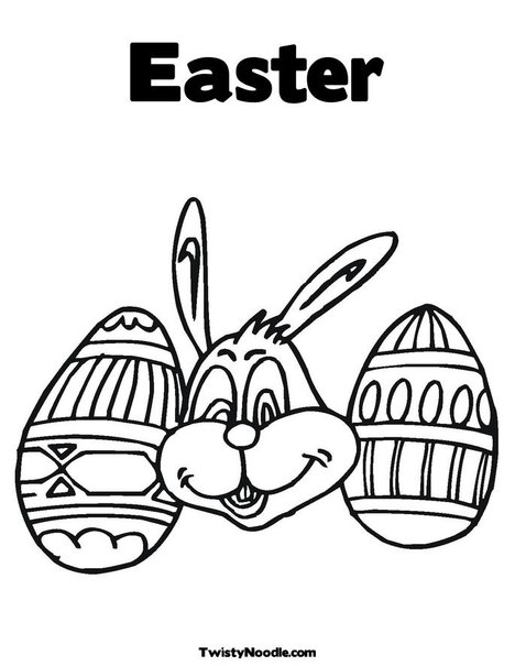easter bunny coloring book pages. Easter Bunny and Eggs Coloring title=