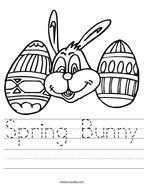 Spring Bunny Handwriting Sheet