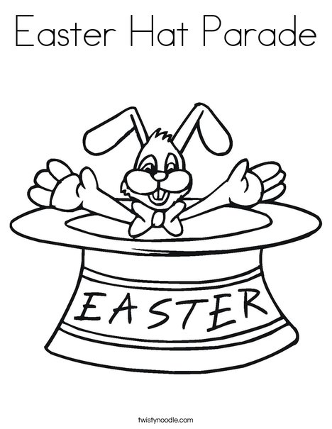 Easter Bunny in a Hat Coloring Page