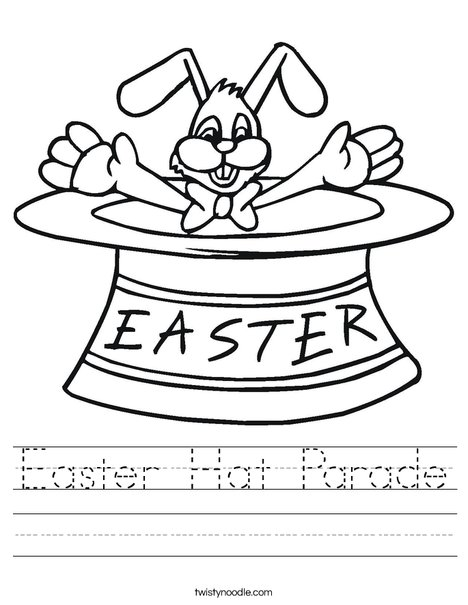 Easter Bunny in a Hat Worksheet