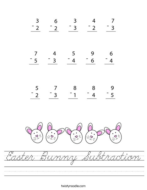 Easter Bunny Subtraction Worksheet