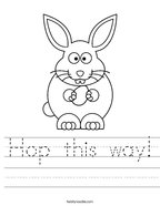 Hop this way Handwriting Sheet