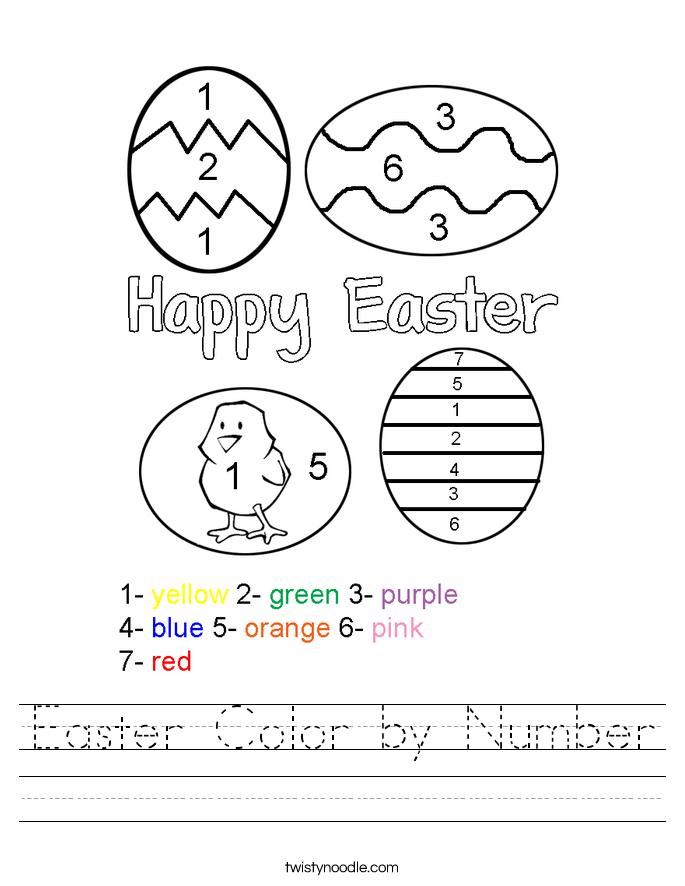 Color By Number Easter Worksheets Worksheets for all | Download ...