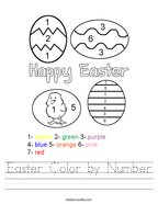 Easter Color by Number Handwriting Sheet