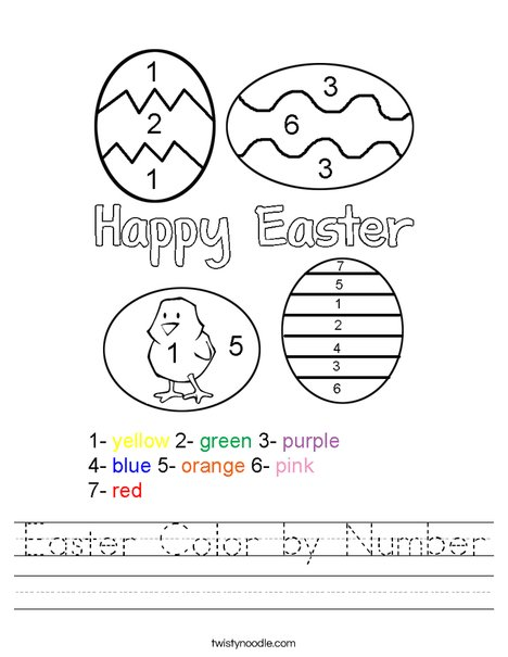 Easter Color by Number Worksheet - Twisty Noodle