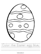 Color the Easter egg blue Handwriting Sheet