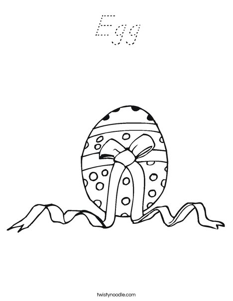 Easter Egg with a Bow Coloring Page
