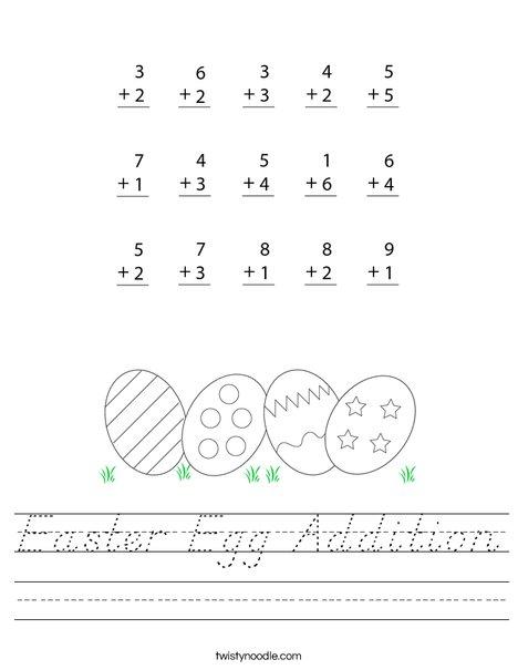 Easter Egg Addition Worksheet