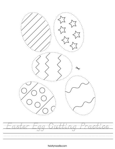 Easter Egg Cutting Practice Worksheet