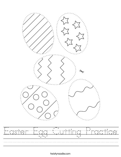 Easter Egg Cutting Practice Worksheet