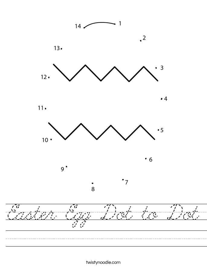 Easter Egg Dot to Dot Worksheet