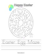 Easter Egg Maze Handwriting Sheet