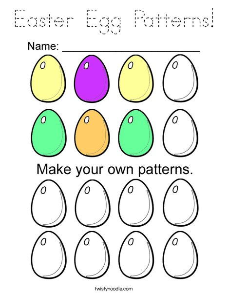 Easter Egg Patterns Coloring Page