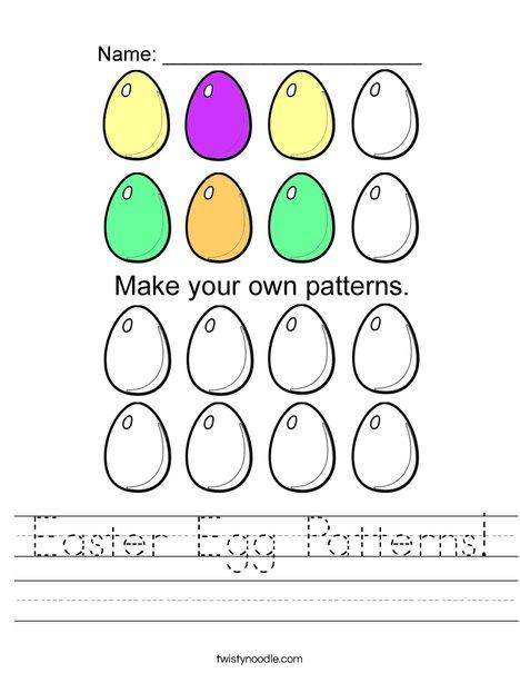 Easter Egg Patterns Worksheet