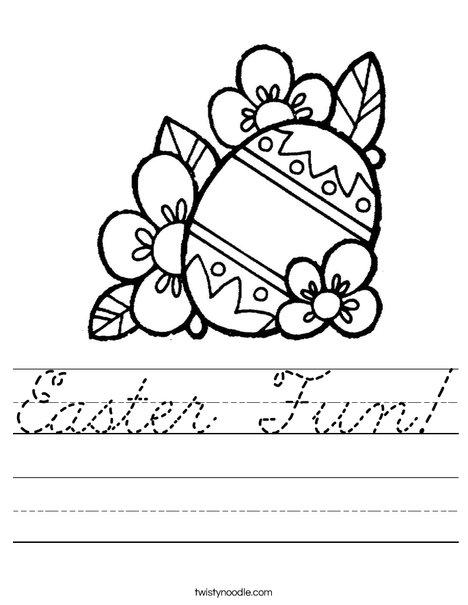 Easter Egg with Flowers Worksheet