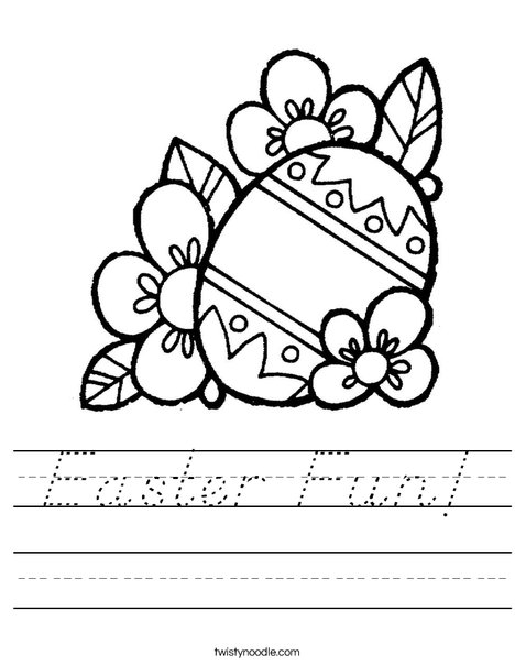Easter Egg with Flowers Worksheet