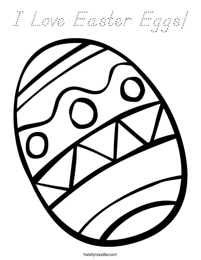 I Love Easter Eggs! Coloring Page